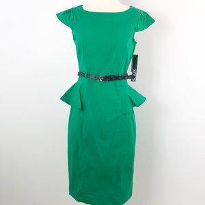 Xoxo Peplum Dress Belted Green Sheath Large, 9/10
